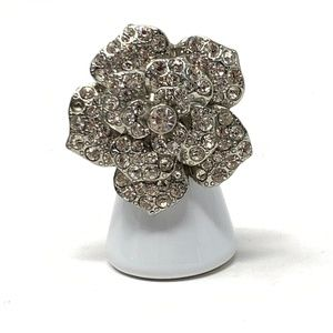 Floral Silver Patina Rhinestone Ring Size 6.5
